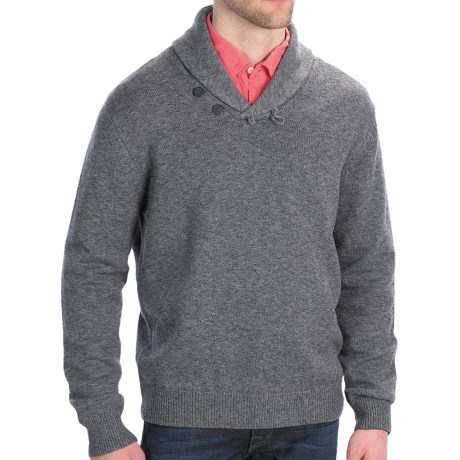 Toscano Salt and Pepper Sweater - Merino Wool Blend, Shawl Collar (For Men)