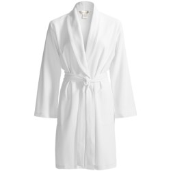 Diamond Tea Short Jacquard Knit Wrap Robe - Long Sleeve (For Women)