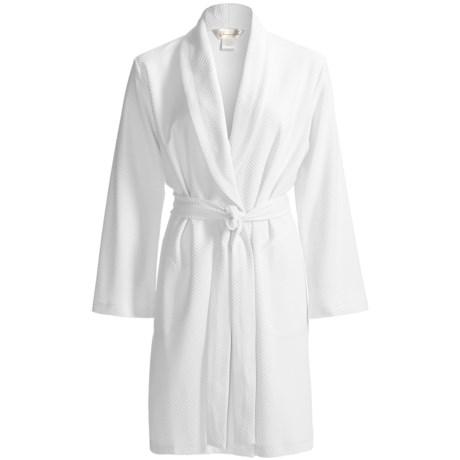 Diamond Tea Short Jacquard Knit Wrap Robe - Long Sleeve (For Women)