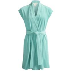 Diamond Tea Short Jacquard Terry Wrap Robe - Short Sleeve (For Women)