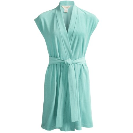 Diamond Tea Short Jacquard Terry Wrap Robe - Short Sleeve (For Women)