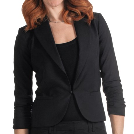 Amanda + Chelsea Cotton Blend Jacket - Ruched 3/4 Sleeve (For Women)