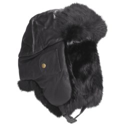 Mad Bomber® Euro Aviator Hat - Leather, Rabbit Fur, Insulated (For Men and Women)