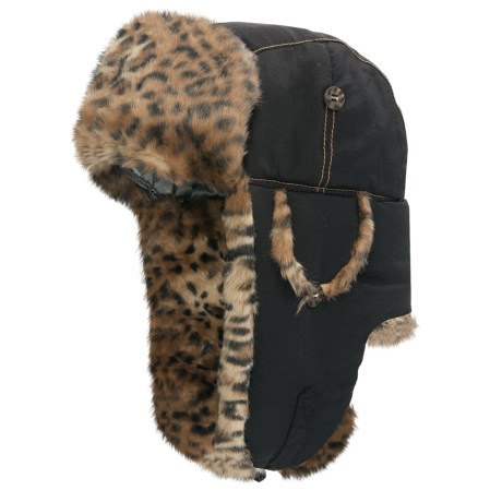 Mad Bomber® Supplex® Nylon Aviator Hat - Leopard Faux Fur, Ear Flaps (For Men and Women)