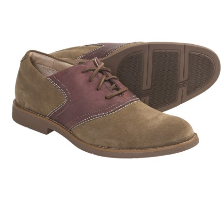 Sperry Top-Sider Jamestown Saddle Oxford Shoes - Tan Suede/ Burgundy Leather (For Men)