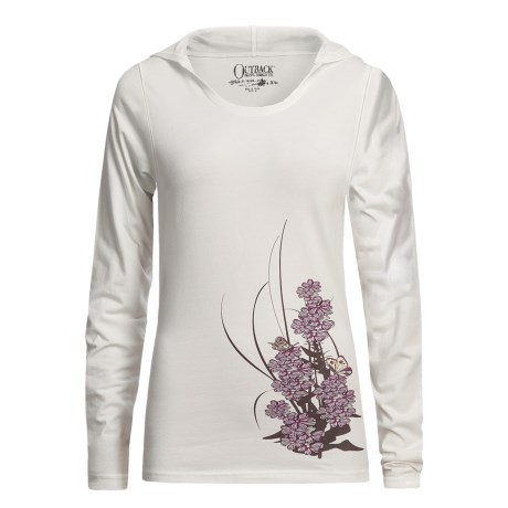 Outback Trading Bloomin' Butterflies Hooded Shirt - Stretch Cotton, Long Sleeve (For Women)