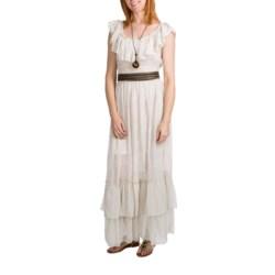 Embroidered Eyelet Maxi Dress - Antique White, Sleeveless (For Women)