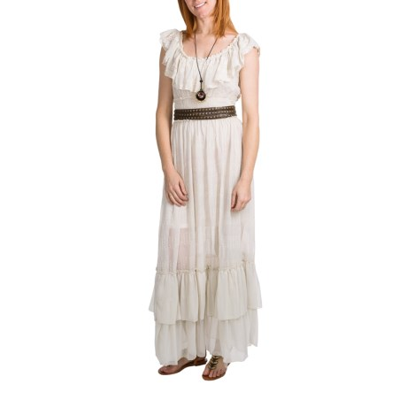 Embroidered Eyelet Maxi Dress - Antique White, Sleeveless (For Women)