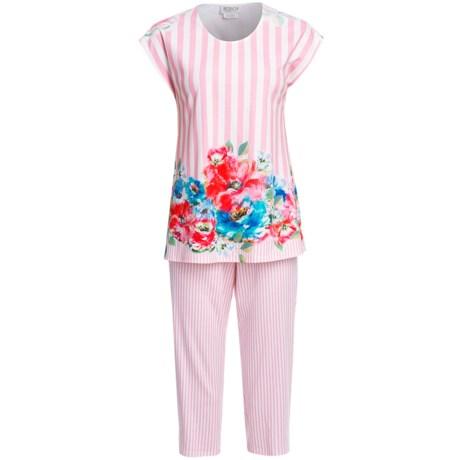 Rosch Interlock Cotton Capri Pajamas - Short Sleeve (For Women)