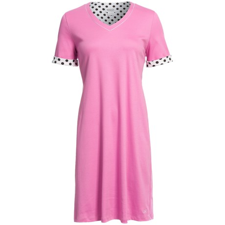 Rosch Contrast Rounded V-Neck Nightshirt - Cotton, Short Sleeve (For Women)