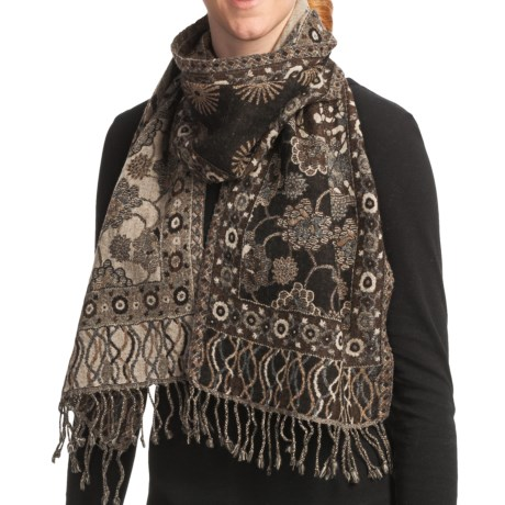 Asian Eye Tonga Boiled Wool Scarf - Reversible (For Women)