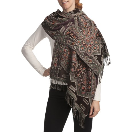 Asian Eye Whitecaps Shawl - Wool (For Women)