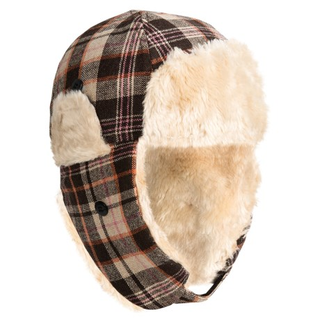 Grand Sierra Plaid Trapper Hat - Wool Blend, Faux-Fur Lining, Ear Flaps (For Kids)