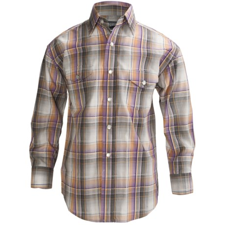 Panhandle Slim Poplin Satin Plaid Shirt - Snap Front, Long Sleeve (For Boys)