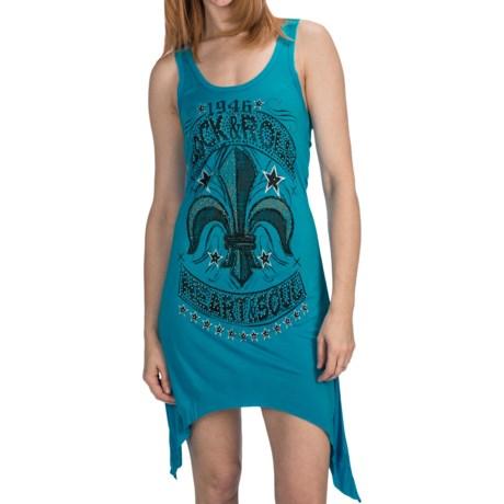 Rock & Roll Cowgirl Fleur-de-Lis Dress - Handkerchief Hem, Sleeveless (For Women)