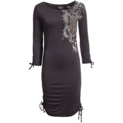 Rock & Roll Cowgirl Pencil Dress - Side Drawstrings, 3/4 Sleeve (For Women)