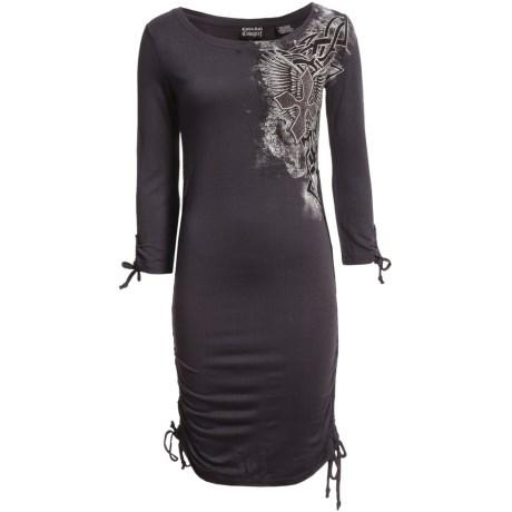 Rock & Roll Cowgirl Pencil Dress - Side Drawstrings, 3/4 Sleeve (For Women)