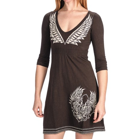 Rock & Roll Cowgirl Fleur De Lis Dress - V-Neck, 3/4 Sleeve (For Women)