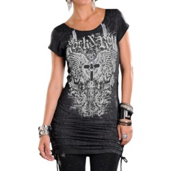 Rock & Roll Cowgirl French Terry Pencil Dress - Scoop Neck, Drawstring Seams, Short Sleeve (For Women)