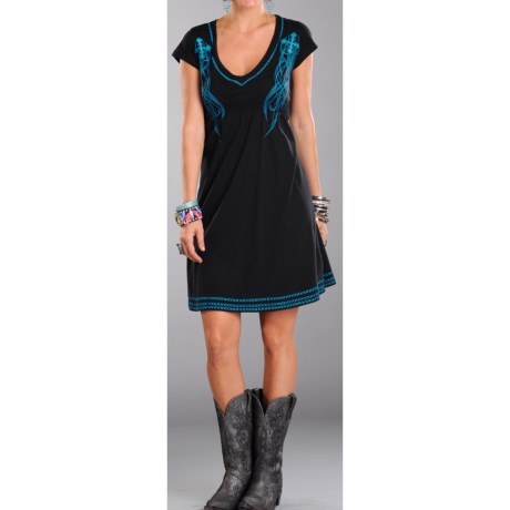 Rock & Roll Cowgirl Embroidered Dress - V-Neck, Short Sleeve (For Women)