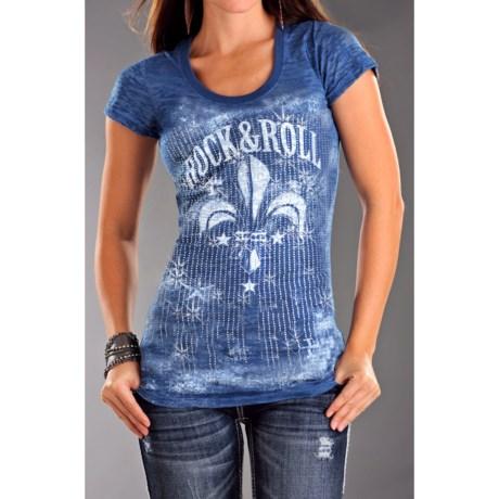 Rock & Roll Cowgirl Fleur De Lis Burnout Tunic T-Shirt - Short Sleeve (For Women)