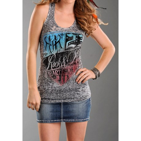Rock & Roll Cowgirl Burnout Tunic Tank Top - Racerback (For Women)