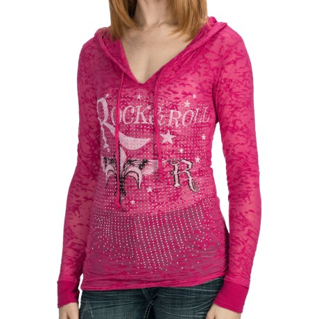 Rock & Roll Cowgirl Fleur-de-Lis Burnout Hooded Shirt - Long Sleeve (For Women)