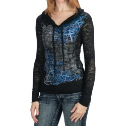 Rock & Roll Cowgirl Scrolling Art Burnout Shirt - Hoodie, Long Sleeve (For Women)