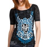 Rock & Roll Cowgirl Burnout Sleeve Shirt - Short Sleeve (For Women)
