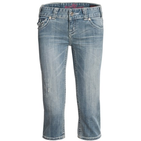 Rock & Roll Cowgirl White Saddlestitch Distressed Capris - Low Rise (For Women)