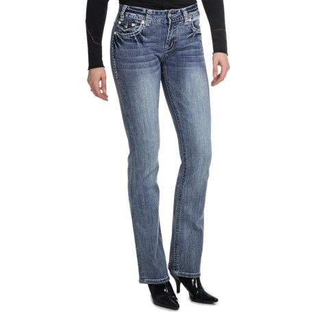 Rock & Roll Cowgirl Stone Detail Bootcut Jeans - Mid Rise (For Women)