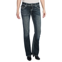 Rock & Roll Cowgirl Nailhead Leather Applique Jeans - Low Rise, Bootcut (For Women)