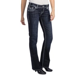 Rock & Roll Cowgirl Heart Stone Cross Detail Jeans - Low Rise, Bootcut (For Women)