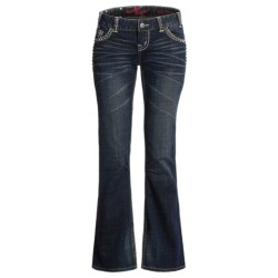 Rock & Roll Cowgirl Square Pyramid Nailhead Jeans - Low Rise Bootcut (For Women)