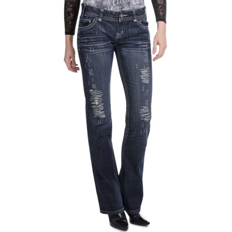 Rock & Roll Cowgirl Motorcycle Cross Design Jeans - Low Rise, Bootcut (For Women)