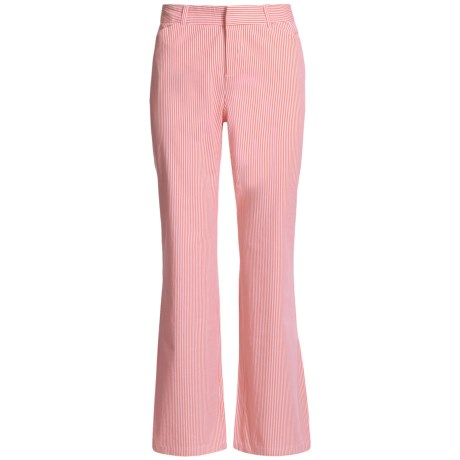 Woven Stretch Cotton Stripe Pants - Flat Front (For Women)