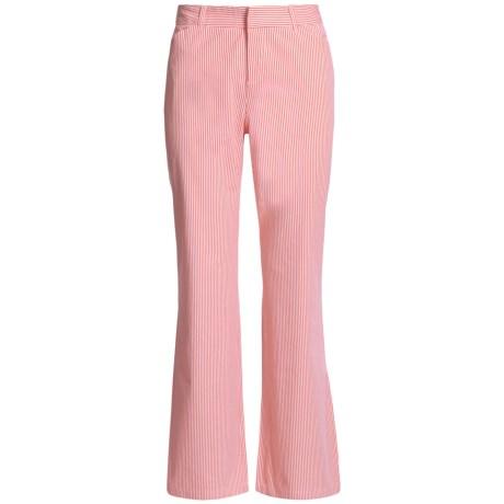 Woven Stretch Cotton Stripe Pants - Flat Front (For Women)
