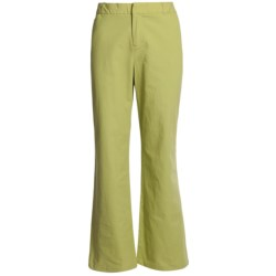 Stretch Woven Twill Bootcut Pants - Flat Front (For Women)