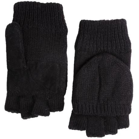 Grand Sierra Ragg Wool Mittens - Convertible Fingerless Gloves, Thinsulate®, Suede Palm (For Men)