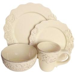 American Atelier Bianca Petals Dinnerware Set - 16-Piece, Ceramic