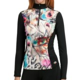 Hot Chillys Micro-Elite Sublimated Print Base Layer Top - Midweight, Zip Neck, Long Sleeve (For Women)