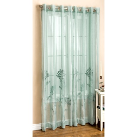 "Habitat Embroidered Hydrangea Curtains - 108x84"", Grommet-Top, Semi Sheer"