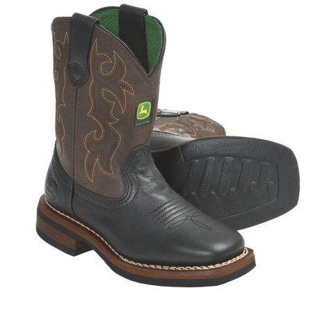 John Deere Footwear Johnny Poppers Cowboy Boots - Removable Insert, Square Toe (For Kids and Youth)