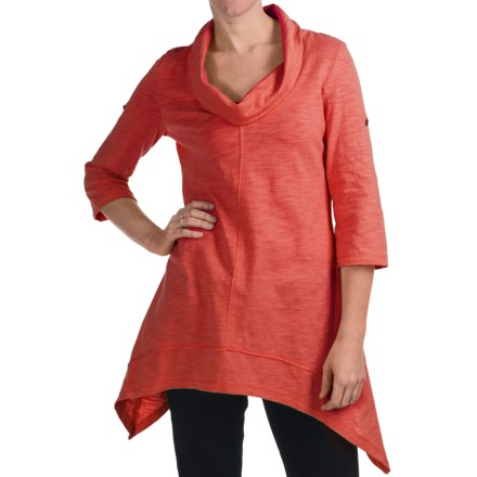 Neon Buddha Peace Cowl Tunic Shirt - Cotton Slub, 3/4 Sleeve (For Women) in Cultural Coral - Closeouts