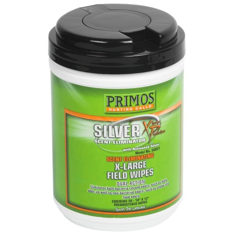 Primos Silver XP Scent-Eliminating Field Wipes - 50 Count