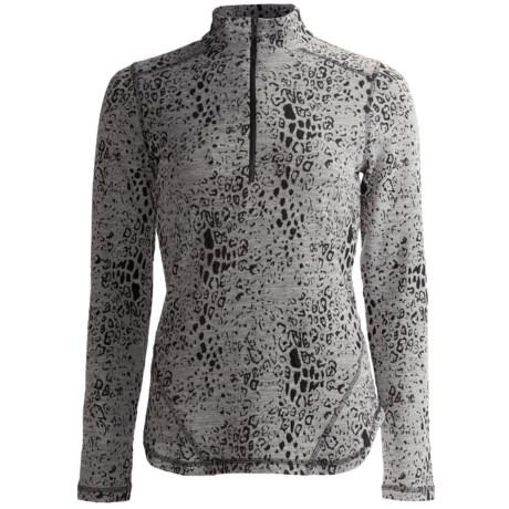 Sno Skins Leopard Denim Stretch Knit Shirt - Zip Neck, Long Sleeve (For Women)