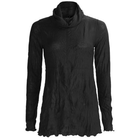 Sno Skins Crinkle Pointelle Turtleneck - Long Sleeve (For Women)