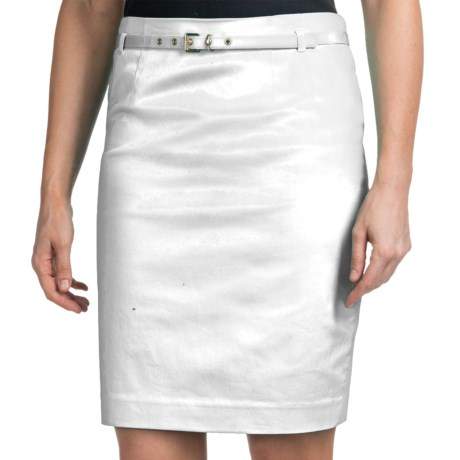 Amanda + Chelsea Belted Skirt - Stretch Cotton Sateen (For Women)