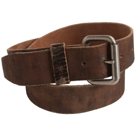 Leather Island by Bill Lavin Cracked Vintage Leather Belt (For Men)