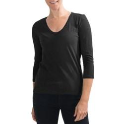 Slub Knit Shirt - V-Neck, 3/4 Sleeve (For Women)